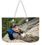 A Climber Reaches His Hand In A Crack Weekender Tote Bag