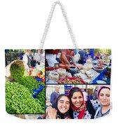 A Collage Of The Fresh Market In Kusadasi Turkey Weekender Tote Bag