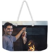 A Cook Hangs A Turkey Over Fire Pit Weekender Tote Bag