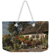 A Cottage Garden With Chickens Weekender Tote Bag