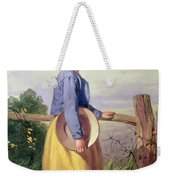 A Country Girl Standing By A Fence Weekender Tote Bag
