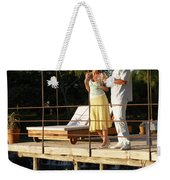 A Couple Having Drinks On A Deck Weekender Tote Bag