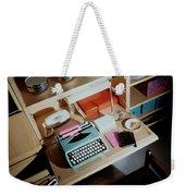 A Cupboard With A Blue Typewriter Weekender Tote Bag