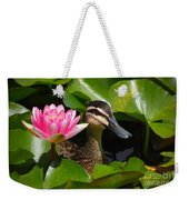A Curious Duck And A Water Lily Weekender Tote Bag
