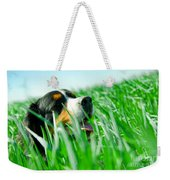 A Cute Dog In The Grass Weekender Tote Bag