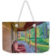A Deck By The Methow River At Cottonwood Cottage Weekender Tote Bag