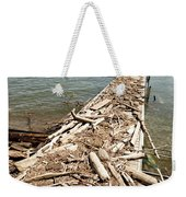 A Dock Covered With Driftwood Weekender Tote Bag