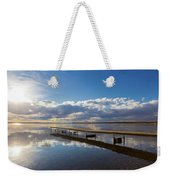A Dock Leading Out Into The Lake At Weekender Tote Bag