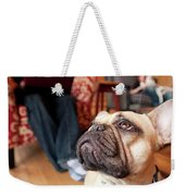 A Dog Stands At The Feet Of Its Owner Weekender Tote Bag
