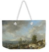 A Dune Landscape With A River And Many Figures Weekender Tote Bag