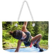 A Fit Woman Completes A Morning Weekender Tote Bag