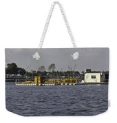 A Floating Platform With A Number Of Pipes Used For Construction Weekender Tote Bag