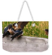 A Fourth Baby Barn Swallow Wants In On Lunch Weekender Tote Bag