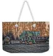 A Frosty John Deere Turbo 7700 Combine Weekender Tote Bag