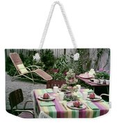 A Garden Set Up For Lunch Weekender Tote Bag