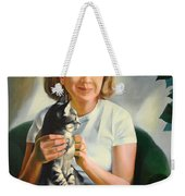 A Girl With A Cat Weekender Tote Bag