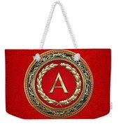 A - Gold Vintage Monogram On Red Leather Weekender Tote Bag
