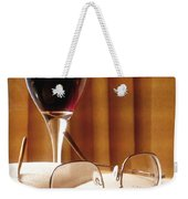 A Good Book And A Glass Of Wine Weekender Tote Bag by Lucinda Walter
