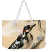 A Great Spotted Woodpecked And Another Small Bird Weekender Tote Bag