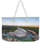 A Green River Curves Around A Deep Bend Weekender Tote Bag