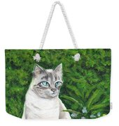 A Grey Cat At A Garden Weekender Tote Bag