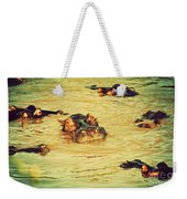 A Group Of Hippos In A River. Tanzania Weekender Tote Bag