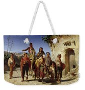 A Gypsy Family On The Road, C.1861 Oil On Canvas Weekender Tote Bag