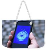 A Hand Holding A Digital Compass Weekender Tote Bag