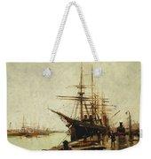 A Harbor Weekender Tote Bag by Eugene Galien-Laloue