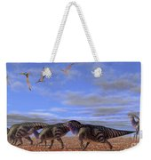 A Herd Of Parasaurolophus Dinosaurs Weekender Tote Bag by Corey Ford
