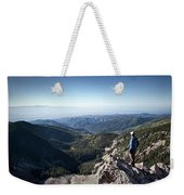 A Hiker Looks At The View Weekender Tote Bag