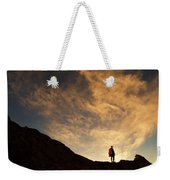 A Hiker Standing On A Ridge At Sun Rise Weekender Tote Bag