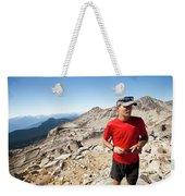 A Hiker Uses His Smartphone To Capture Weekender Tote Bag