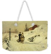 A Horse Drawn Sleigh In A Winter Landscape Weekender Tote Bag by Fritz Thaulow
