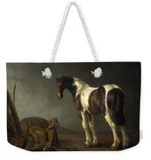 A Horse With A Saddle Beside It Weekender Tote Bag