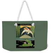 A House And Garden Cover A Bird Over A Pond Weekender Tote Bag