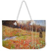A Landscape In Spring With A Nun Weekender Tote Bag