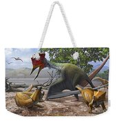 A Large Bakonydraco Pterosaur Attacking Weekender Tote Bag by Sergey Krasovskiy