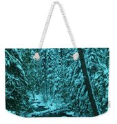 A Leaning Tree Over The Little Naches River Weekender Tote Bag
