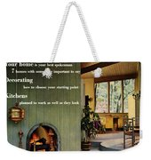 A Living Room With Sherwin-williams Wood-paneling Weekender Tote Bag