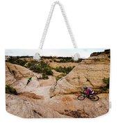 A Male And Female Mountain Biker Ride Weekender Tote Bag