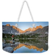 A Male Fly Fisherman In A Lake Weekender Tote Bag