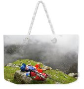 A Male Hiker Is Resting In A Grassy Weekender Tote Bag