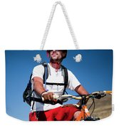 A Male Mountain Biker Stops To Enjoy Weekender Tote Bag