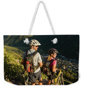 A Man And A Woman Looking At The View Weekender Tote Bag