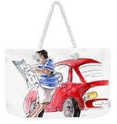 A Man And His Car And His Newspaper Weekender Tote Bag