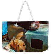 A Man And His Dog Oil Weekender Tote Bag