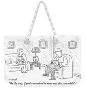 A Man And Woman Are Sitting Together In A Living Weekender Tote Bag