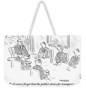 A Man At A Conference Table Addresses Five Weekender Tote Bag