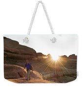 A Man Hiking In The Needles District Weekender Tote Bag